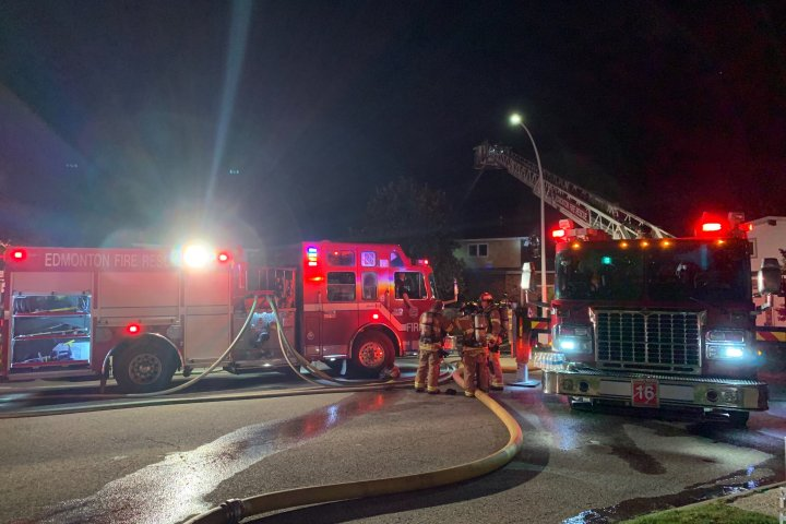 Fire crews battle overnight blaze in south Edmonton
