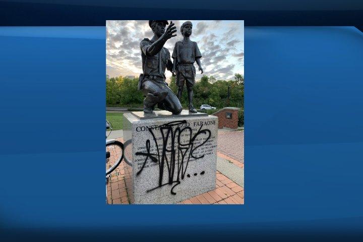 Monuments vandalized at Edmonton's Constable Ezio Faraone park
