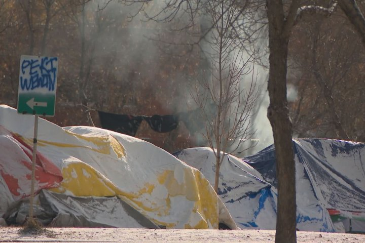Edmonton homeless camp asks for heated trailers as drug overdose reversal medication freezes
