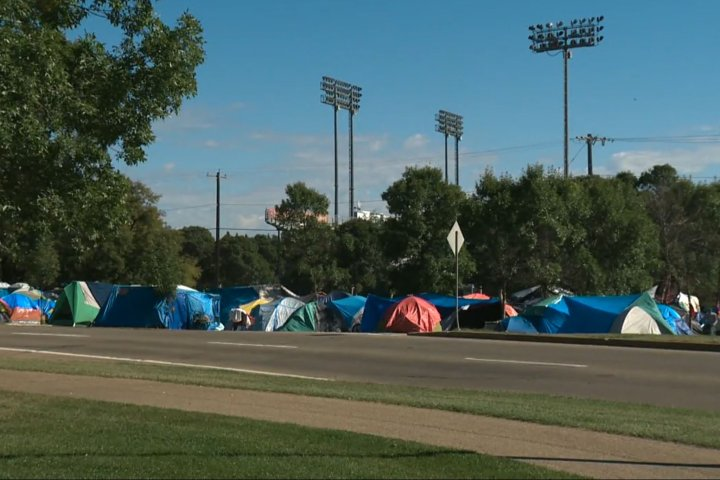 No end date set for Rossdale homeless encampment as Edmonton moves forward with convention centre housing plans