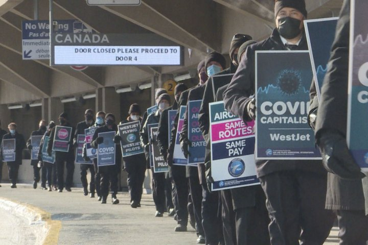 WestJet pilots protest 'outsourced' flights to Swoop in Calgary