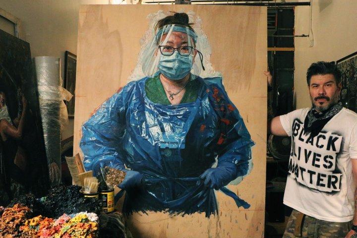 Edmonton-raised artist Tim Okamura creates portrait series honouring health-care workers