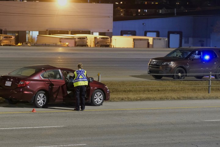 Woman critically injured after loose wheel flies across Calgary freeway and into vehicle