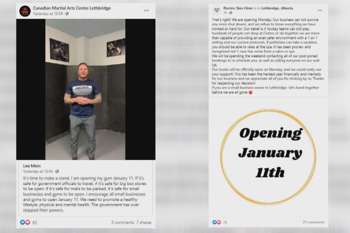 COVID-19: 2 Lethbridge businesses state intent to reopen on social media despite public health order