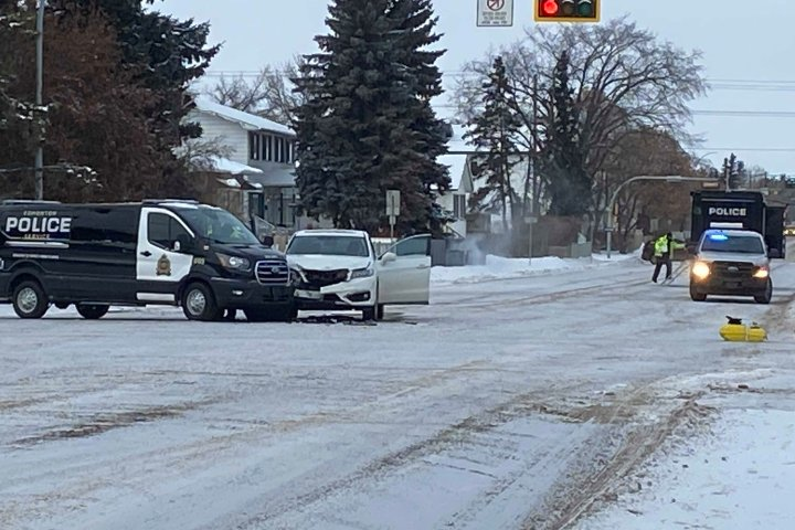 1 taken to hospital after collision with Edmonton police van