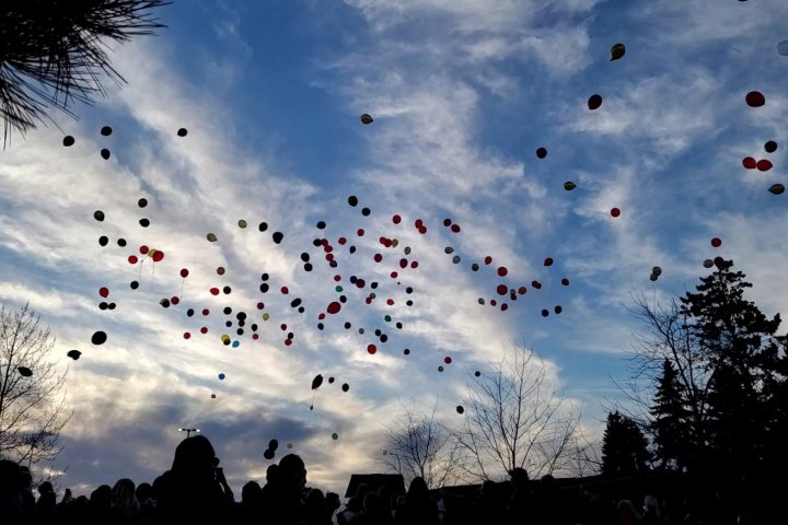 Hundreds of balloons released into the air in Leduc to honour life of slain Alberta teen