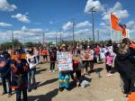 Edmonton Oilers fans rally outside Rogers Place to support Ethan Bear, stand up against racism