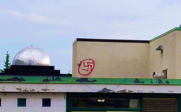'Sad and troubled': Police called after swastika painted on Edmonton mosque