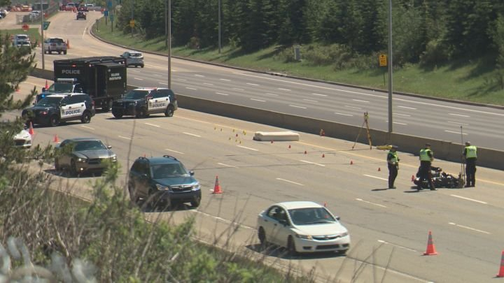 Westbound lanes of Edmonton's Whitemud Drive reopen after motorcyclist hit by mattress