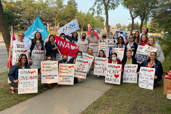 'Nurses feel let down,' picket against Alberta government's proposed rollbacks