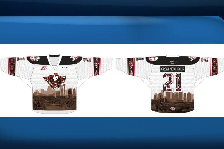 Calgary Hitmen unveil hockey jersey recognizing great neighbours