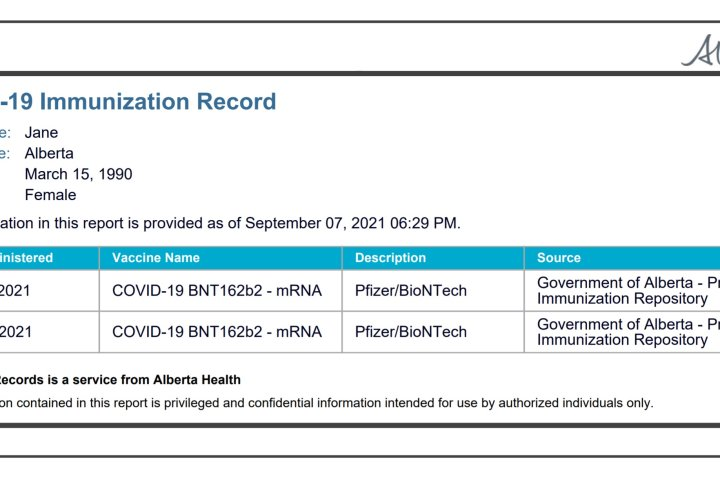 COVID-19: Printable proof-of-vaccination card to be available to Albertans this week