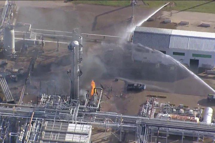 Person taken to hospital following fire at Fort Saskatchewan oil refinery