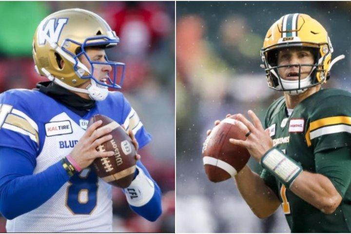 Friends, rivals Collaros and Harris set to clash when Winnipeg Blue Bombers host Edmonton Elks